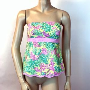 Lilly Pulitzer Top Strapless Flamingo Pelican 2